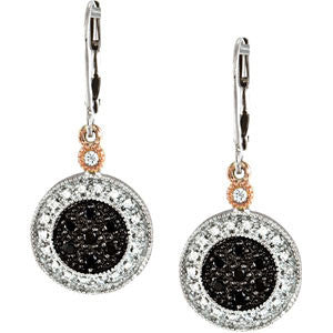 "(.33 Carat) Black & White Diamond 14K White Gold Earrings w/ Rose Gold Accents (34.04"")"