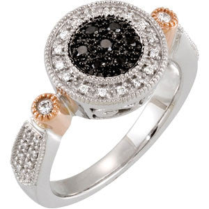(0.25 Carat) 14K White + Rose Gold Black + White Diamond Halo Style Ring