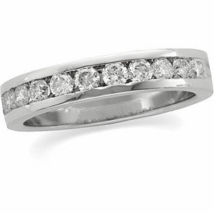 (.75 Carat) Platinum Round Diamond Wedding Anniversary Band (Color: H, Clarity: SI)
