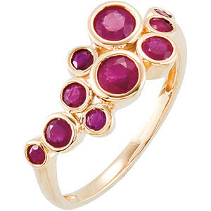 (.90 Carat) 14K Yellow Gold Genuine Ruby Ring