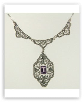 ANTIQUE STERLING SILVER NECKLACE AMETHYST FILIGREE