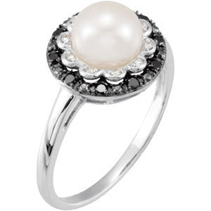14K White Gold Freshwater Cultured Pearl (7.5MM) + Black Diamond Ring