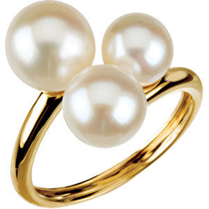 14K Yellow Gold Three Freshwater Cultured Pearl (6.5MM-9MM) Ring (June Birthstone)