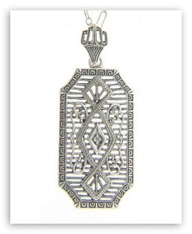 ANTIQUE STYLE STERLING SILVER NECKLACE DIAMOND PENDANT FILIGREE