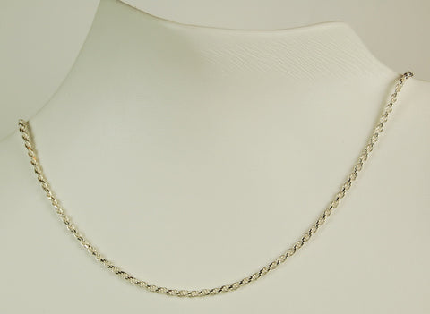 ROPE CHAIN STERLING SILVER NECKLACE 16 INCH   RETAIL $75 + TAX!
