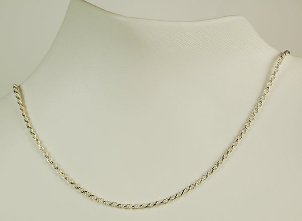 ROPE CHAIN STERLING SILVER  20 INCH 1.5MM THICK RETAIL $75 + TAX!