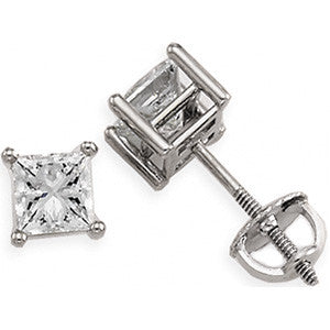 (0.50 Carat) Diamond Princess Cut Stud Earrings in 14k White Gold - Color: G/H, Clarity: I1