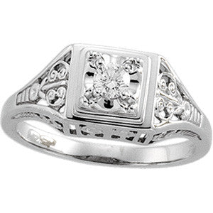 (.18 Carat) 14K White Gold Diamond Vintage Antique Filigree Style Engagement Ring (Color: H, Clarity: SI)