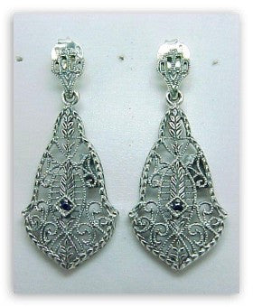 ANTIQUE STERLING EARRINGS SAPPHIRE FILIGREE