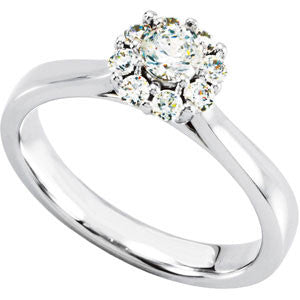 (0.50 Carat) 14K White Gold Brilliant Cut Diamond Halo Style Engagement Ring (Color: G/H, Clarity: SI)