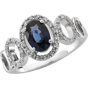 (.20 Carat) 14K White Gold Oval Blue Sapphire + Diamond Ring