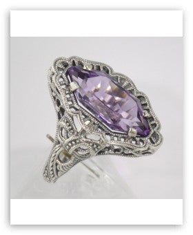 ANTIQUE STYLE  AMETHYST RING FILIGREE STERLING SILVER
