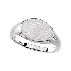 14K White Gold Engravable Oval Signet Ring