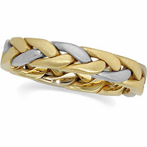 14K Yellow + White Gold Hand Woven Braided Wedding Band (4.5MM)