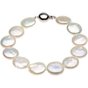 WHITE COIN PEARL NECKLACE STERLING SILVER CLASP