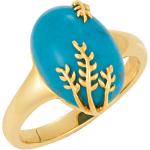 14K Yellow Gold Oval Chinese Turquoise Ring w/ Leafy Vine Spray Detail