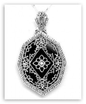 VICTORIAN STYLE BLACK ONYX  DIAMOND PENDANT NECKLACE STERLING RETAIL $245 + TAX!
