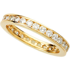 14K Yellow Gold Diamond Eternity Wedding Band (.90 Carat) (Color: H/I, Clarity: SI)