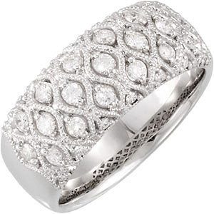"(0.50 Carat) 14K White Gold Diamond Wedding Ring Anniversary Band (Color: G, Clarity: SI) (1/3"" wide)"