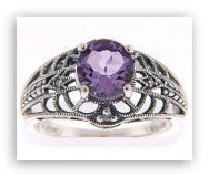 ANTIQUE STYLE STERLING SILVER RING AMETHYST w DIAMOND