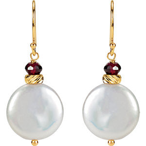 14K Yellow Gold, Coin Pearl (14MM) and Rhodolite Garnet Earrings