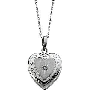 "14K White Gold Heart Locket with Diamond (18"" chain) - holds 2 photos"