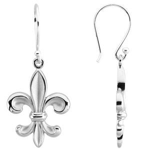 STERLING SILVER FLEUR DE LIS EARRINGS FISH HOOK WIRE BACK PIERCED EARS