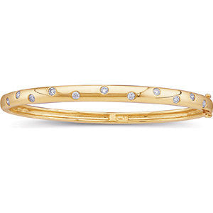 14K Yellow Gold Bangle Bracelet w/ Round Diamond Accents (.50 Carat) (11 diamonds) (Color: H, Clarity: SI)