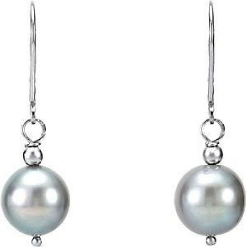 Sterling Silver Cultured Large Grey Pearl Dangling Earrings (10-11mm)