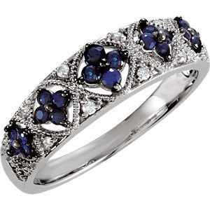 Sterling Silver Antique, Vintage Style Floral Cluster Design Blue Sapphire +Diamond Ring Wedding Band
