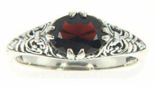 GARNET RING = 2 CARATS! ANTIQUE STYLE STERLING SILVER RETAIL $85!