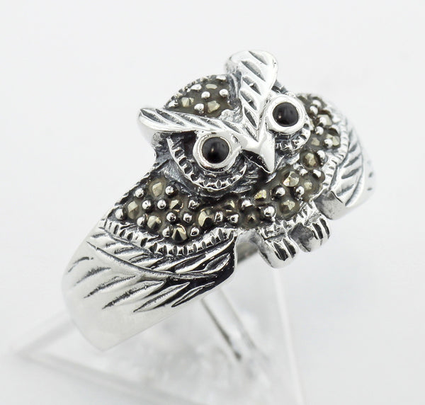 OWL RING BLACK ONYX EYES STERLING SILVER RETAIL $65 + TAX!