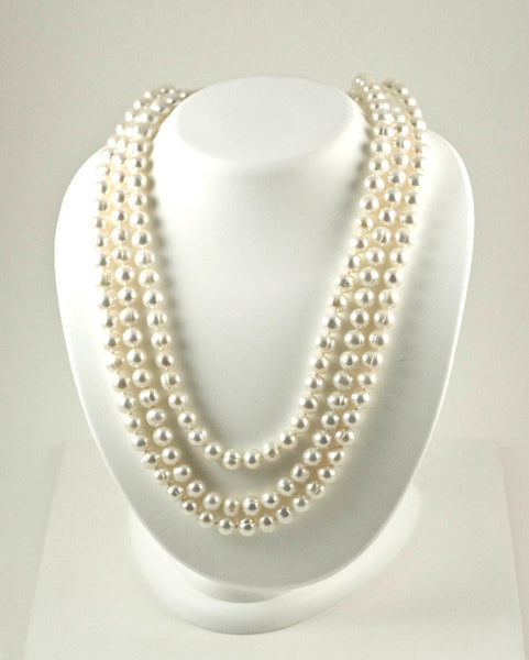 "Freshwater Cultured White Pearl Rope Necklace (8.5MM) (72"")"