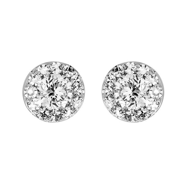 (.90 Carat) Diamond Stud Halo Earrings in 14K White Gold (Color: G, Clarity: I1)