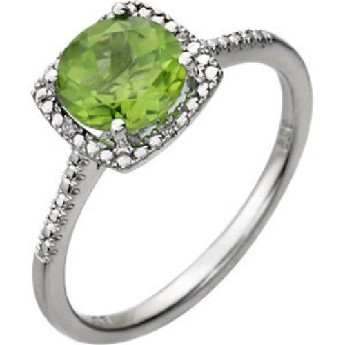 PERIDOT AND DIAMOND RING STERLING SILVER RETAIL $165 + TAX!