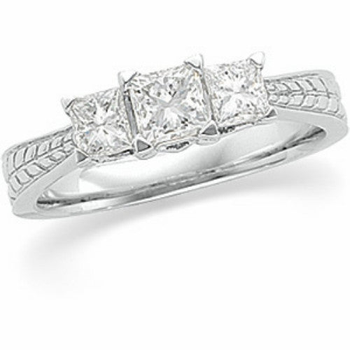 (1 Carat) 14K White Gold Three Stone Princess Cut Diamond Engagement Ring Anniversary Band (Color: H, Clarity: SI)
