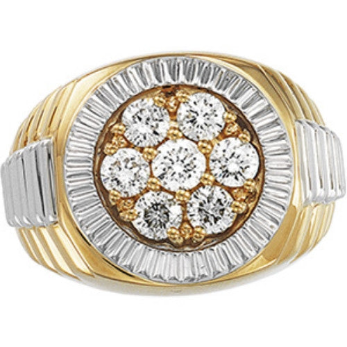 (1.5 Carat) 14K Yellow and White Gold Men's Rolex Style Diamond Ring (Color: G, Clarity: I1)