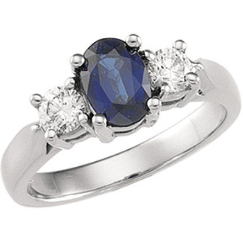 (1.40 Carat) Platinum Blue Sapphire + Diamond Charleston Engagement Ring (Color: H, Clarity: SI)