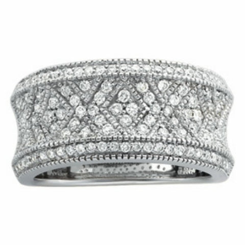 (.75 Carat) 14K White Gold Diamond Wedding Band (Color: H, Clarity: SI)