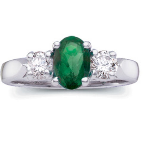 (1.40 Carat) Platinum Oval Emerald Cut + Diamond Ring Diamond (Color: H, Clarity: SI)