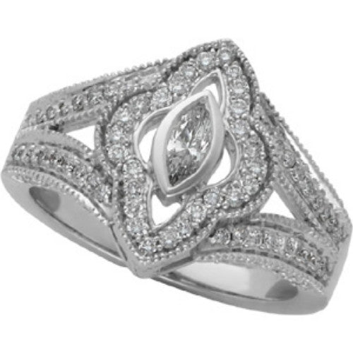 (.75 Carat) 14K White Gold Marquise Cut Diamond Engagement Ring (Color: G/H, Clarity: SI)