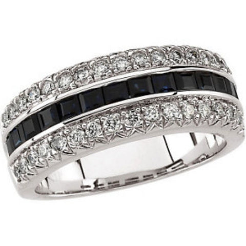 14K White Gold Princess Cut Blue Sapphire + Diamond Anniversary Band Ring (Color: G/H, Clarity: SI)