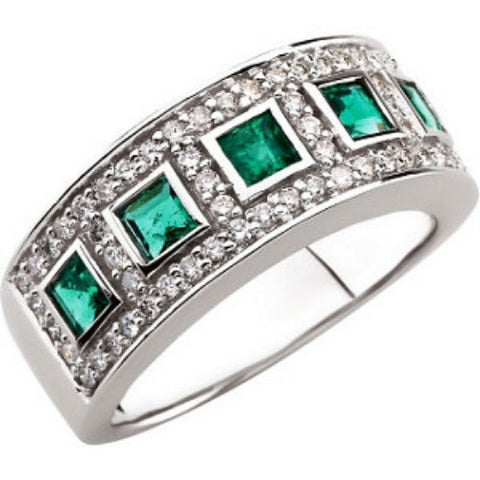 (0.52 Carat) 14K White Gold Princess Cut Emerald + Diamond Ring