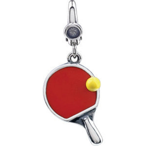 PING PONG PADDLE CHARM w BALL STERLING SILVER RETAIL $70 + TAX!