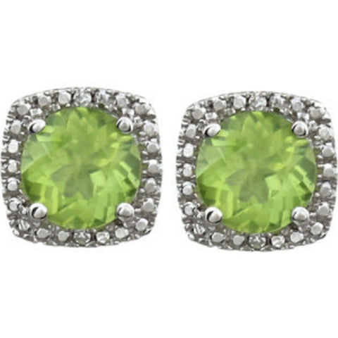 3/4 Carat Peridot & Diamond Halo Stud Earrings in Sterling Silver