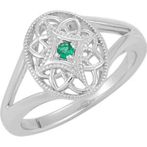 GENUINE GREEN EMERALD RING STERLING SILVER RETAIL $115 + TAX!