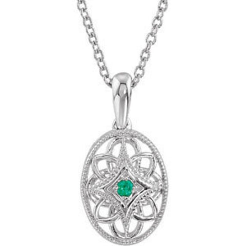 "Sterling Silver Oval Pendant Necklace w/ Emerald Accent (.35 Carat) (18"")"