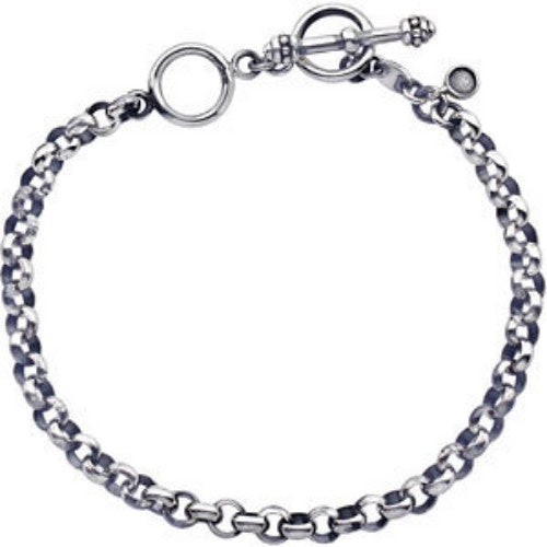 STERLING SILVER CHARM BRACELET 5MM THICK FOR AVERAGE TO LARGE WRIST!
