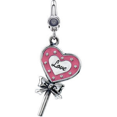 STERLING SILVER CHARM OF A LOLLIPOP IN PINK ENAMEL AND says LOVE