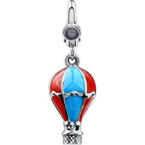 STERLING SILVER CHARM OF A HOT AIR BALLOON IN RED AND BLUE ENAMEL